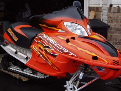 2005 F7 EFI Sno Pro ORANGE 98 ZR 500. Speed works cluth kit. V-force reeds